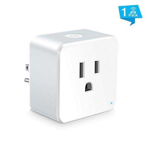 Wsiiroon WiFi Smart Plug, Upgraded Mini Outlet Remote Control Smart Socket with Timer Function, Compatible with Alexa and Google Home Only 2.4GHz -1 Pack
