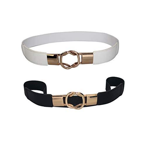 Autumnwell Women Skinny Elastic Waist Belt Retro Stretch Cinch Thin Belt Metal Buckle