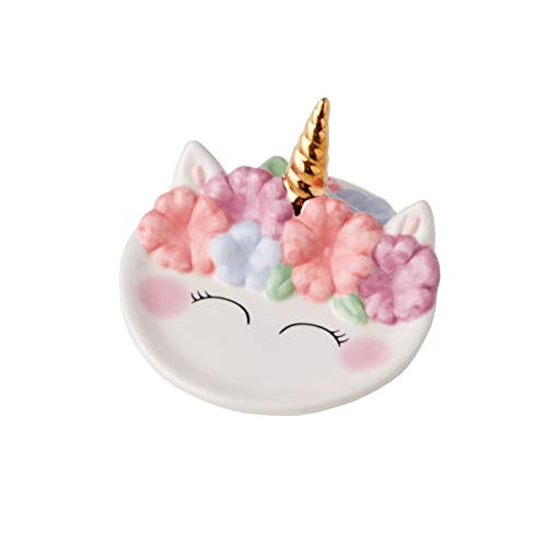 (Streamline Cute Petite Unicorn Face Ceramic Trinket Ring Dish)