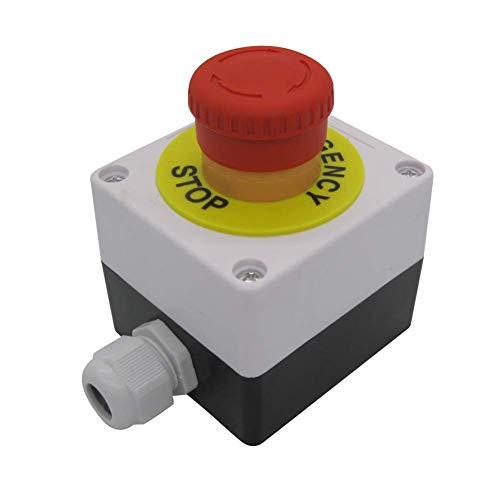 TWTADE / 22mm 2 NC Red Sign Mushroom Emergency Stop Push Button Switch Station 10A 600V Stop Switch Box (Warranty 3 Years) YW1B-V4E02R-BOX