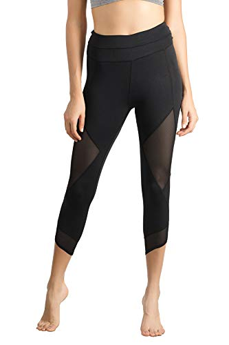 Lin Women's Running Tights Mid-Waist Tummy Control Mesh Leggings for Yoga Training Workout Capris Pants Black