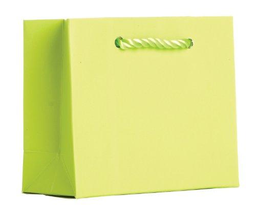 Jillson Roberts Tiny Tote Gift Bag, Lime Green Matte, 12-Count (TT941)