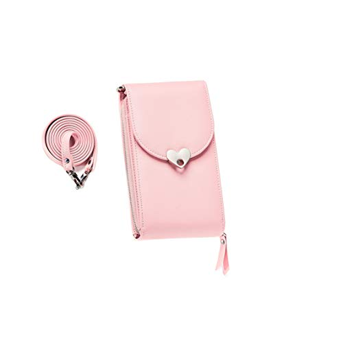Caxion Small Square Bag Travel Purse with Removable Shoulder Strap Mini Crossbody Bag Premium Leather Handbag Lovely Heart Coin Billfold Clutch Smartphone Case Cover - Light Pink