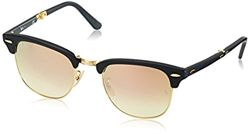 Ray-Ban Clubmaster Folding RB2176 Sunglasses Matte Black / Copper Flash Gradient 51mm & Cleaning Kit - Rayban Eyewear Folding Clubmaster