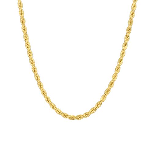 MAJU 18k Gold Over Stainless Steel 5mm Hip Hop Rope Chain Necklace, 16 inch