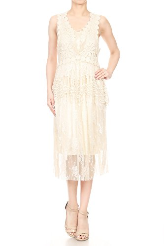 Anna-Kaci Granny Influence Embroidery Detail Lace Ruffle Dress, Beige, Small/Medium]()