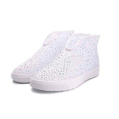 Botas de mujer zapatos Club tul verano moda casual cremallera botas de tacón plano Flat Black Gold Gold