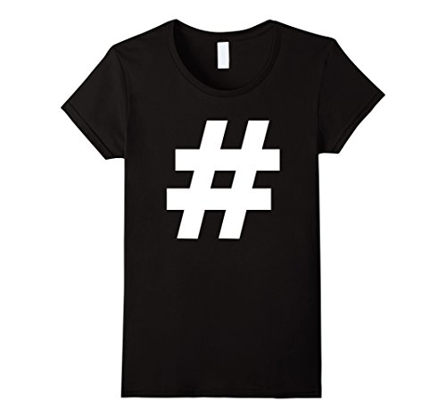 Hash Tag Costumes (Womens Hashtag Halloween Costume Couple T-shirt Small Black)