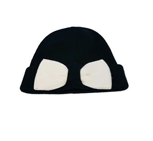Kate Spade Beanie with Colorblock Bow (Black/Cream)