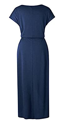 Yidarton Women's Casual Short Sleeve Slit Solid Party Summer Long Maxi Dress