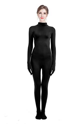 Zentai bodysuit Without Headgear Cosplay Costume Elastic Spandex Lycra Men's Women's Unisex Masquerade Carnival Halloween (Large, Black)]()