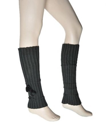 New Women's Hunter Green Solid Color Knit LEG WARMERS w/Pom-Pom Accents - Sunglasses Hunter