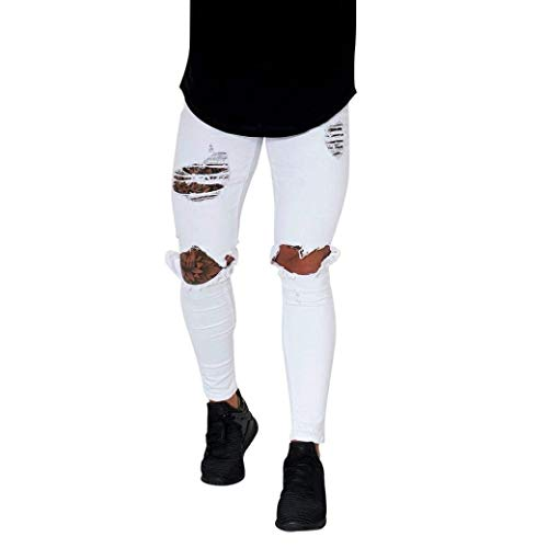 Pantalones Vaqueros De Mezclilla De Los Pantalones Ajustados Skinny Hombres Flacos Pantalones Destruidos Ripped Slim Fit Agujeros De La Motocicleta Cher Denim Jeans Closure Streetwear Blanco