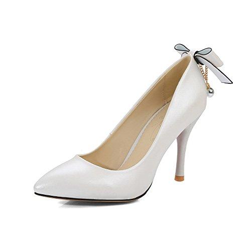 Sulla Alti scarpe Donne Appuntite Punta Solido Delle Tirare Talloni Chiusa Pompe Allhqfashion Bianche q4TpqOw