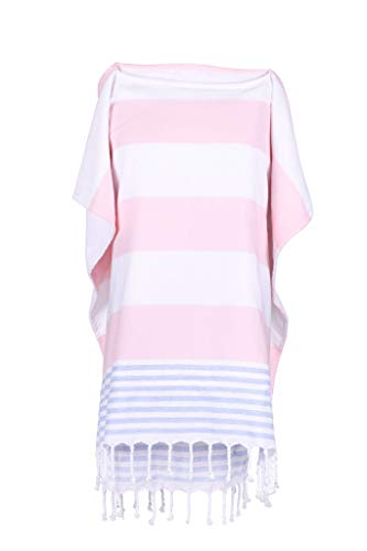 Turkish Towel Poncho with Terry Cloth Lining - The Perfect Bathing Suit Cover Up for The Beach & Pool. (Pink Blue White)