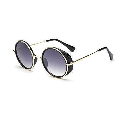 Unisex Round Goggles Sunglasses ,Plastic Metal Frame Rimmed UV400 Lens - Gatsby Sunglasses Great