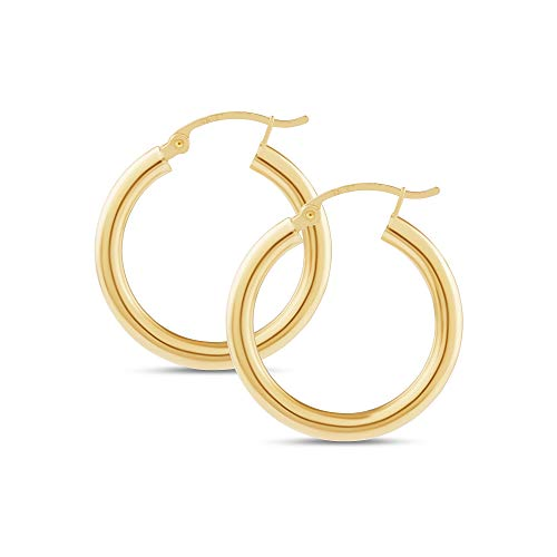 14k Yellow Gold Classic Shiny Polished Round Hoop Earrings for Women, 3mm - Earrings 10k Hoop Tube
