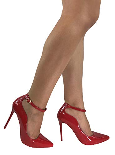 - Forever Collection Womens Classic Elegance High Heel Pumps with Ankle Strap, Red Patent, 8