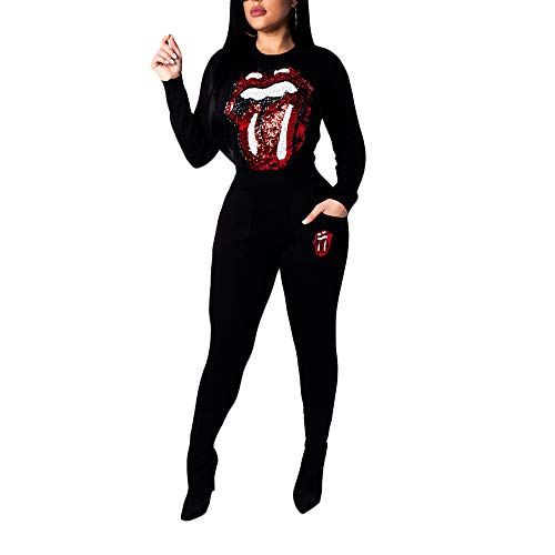 Womens Sequins Long Sleeve Pullover Tops and Pants Suits 2 Piece Tracksuit Outfits Bodycon Jumpsuits Sweatsuit Set(Black,S)