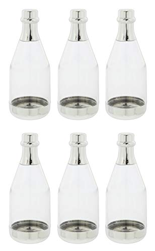 Fashioncraft Mini Silver Plastic Champagne Bottles for Wedding/Party Favors - Set of 6 -