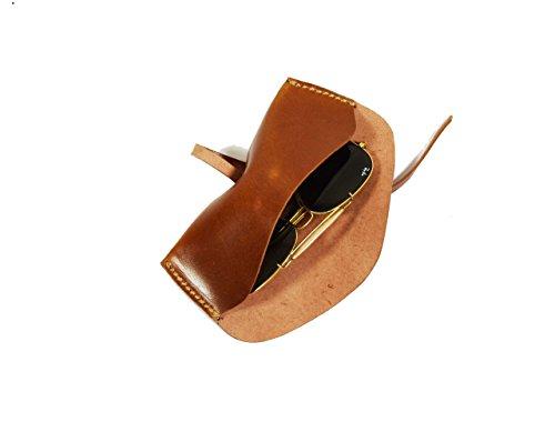 Leather Sunglasses Case Unisex Eyewear Sleeve (Tan)