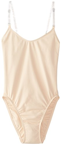 Capezio Women's Camisole Leotard With Clear Transition Straps, Nude, (Nude Colored Leotard)
