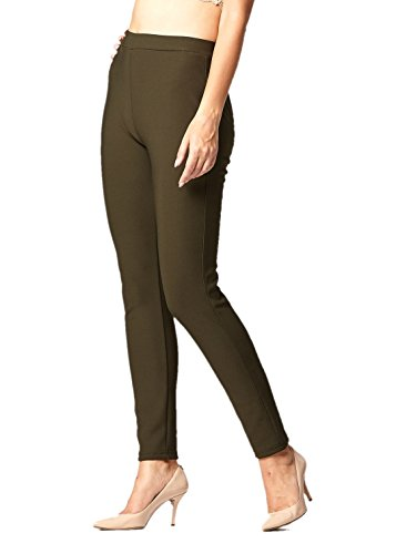 Women's Ponte Pants (Olive, Small/Medium (0-10))