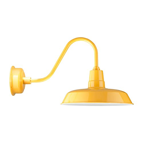 Lbl Led (Cocoweb 18-Inch Oldage Yellow LED Wall Mounted Gooseneck Barn Light - Dimmable, Indoor / Outdoor / Wet listed fixture, Bright pre-installed LED array 1600 lumen, 2700K color temperature - LBL-OAG18YE)
