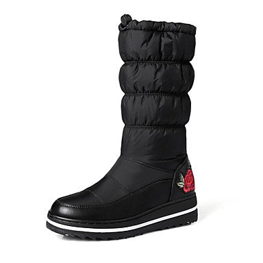 RTRY Zapatos De Mujer Pu Novedad Moda Otoño Invierno Confort Botas Botas Planas Botas De Tacón Puntera Redonda Mid-Calf Applique Para Office &Amp; Vestido De Carrera US8.5 / EU39 / UK6.5 / CN40