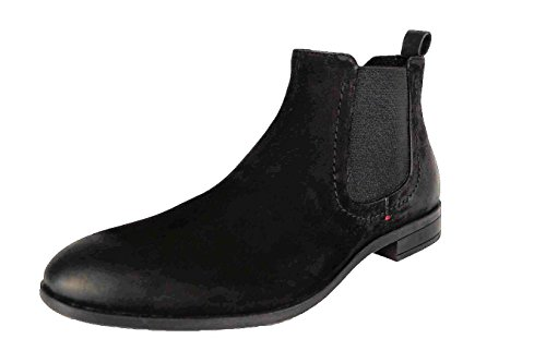 360 Around The World 360 Herren-Boots Kurzschaft Echt-Leder-Stiefel Chelsea Stiefeletten Schwarz Antonio Schwarz