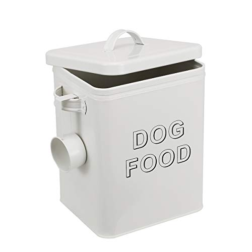 Morezi Dog Treat and Food Storage Tin with Lid and Serving Scoop Included - Cream Powder - Coated Carbon Steel - Tight Fitting Lids - Storage Canister Tins - Dog Food