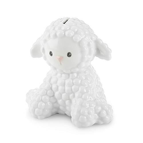 (Baby Aspen Little Lamb Porcelain Piggy Bank, White)