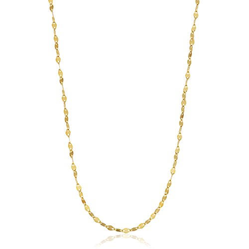 Kooljewelry 14k Yellow Gold 1.2mm Mirror Flat Link Chain Necklace