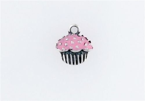 Sterling Silver Enameled Pink Cupcake Charm - Jewelry Accessories Key Chain Bracelet Necklace Pendants