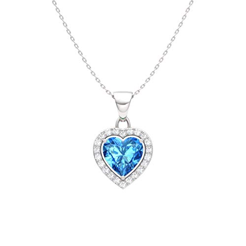 Diamondere Natural and Certified Blue Topaz and Diamond Heart Petite Necklace in 14k White Gold | 0.51 Carat Pendant with Chain ()