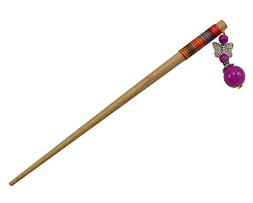 2 Pcs Chinese Traditional Handmade Wood Tassels Hair Pins Stick Women's Hair Accessory T890 (Purple)