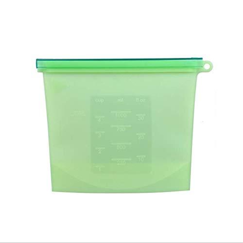 Bolsa de silicona reutilizable para almacenar alimentos – 1 litro de bolsa hermética para alimentos, sellado resistente,...