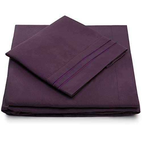 Twin Size Sheet Set - 3 Piece - Deep Pocket Twin Sheets - Extra Soft - Hypoallergenic - Cool & Breathable - Wrinkle, Stain, Fade Resistant (Twin, Purple)