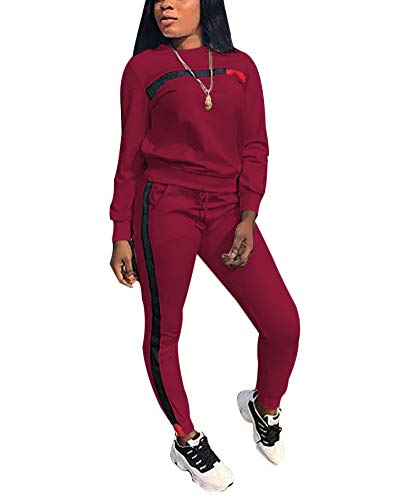 Women's 2 Piece Outfits - Stripe Patchwork Sweatsuits Long Sleeve Pullover Sweatshirt Skinny Long Pants Tracksuit Set Wine Red Large