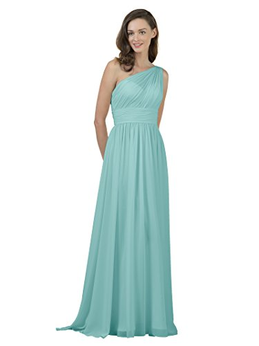 Alicepub One Shoulder Bridesmaid Dress for Women Long Evening Party Gown Maxi, Aqua Blue, US6