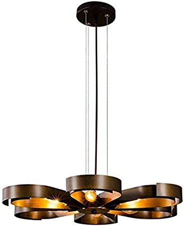 LFDHSF Lámparas Colgantes Antiguas, lámpara de araña Retro E14 Lámpara Colgante Industrial de Hierro y Cobre Vintage para Restaurante, Cocina, Bar, Sala de Estar: Amazon.es: Hogar