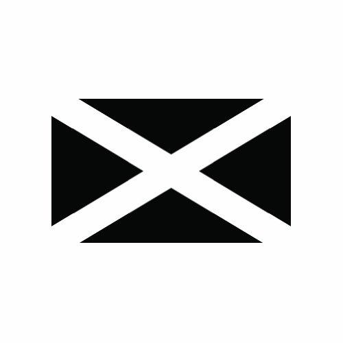 ((2x) Saint Andrew's Cross - Scotland Flag - Black - Sticker - Decal - Vinyl Die Cut)