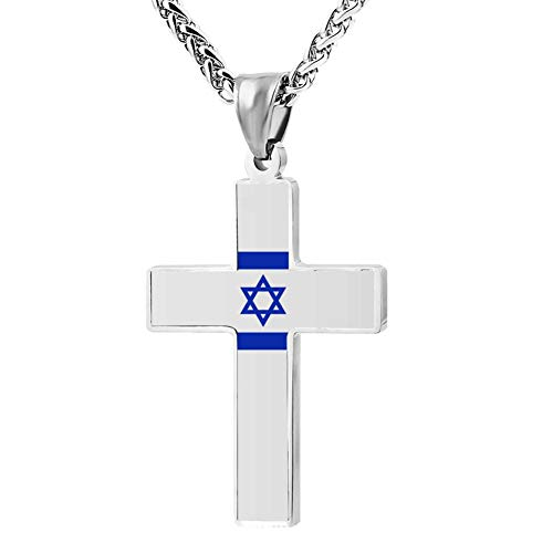 XLCSY Flag of Israel 3D Print Jewelry Zinc Alloy Religious Cross Pendant Necklace Men Women