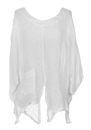 Italian Plus One Hem V Lagenlook Ladies Batwing Size Linen TEXTURE White Womens Cutout Tunic gxqwAEE7H