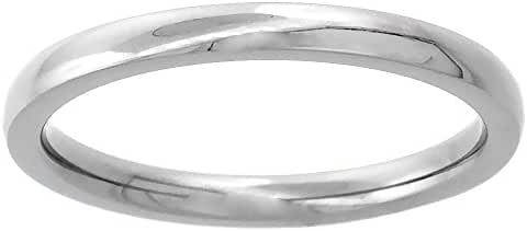 Titanium Plain Wedding Band Thumb Ring / Toe Ring 2mm Domed thin Comfort-Fit High Polish, sizes 1 - 10