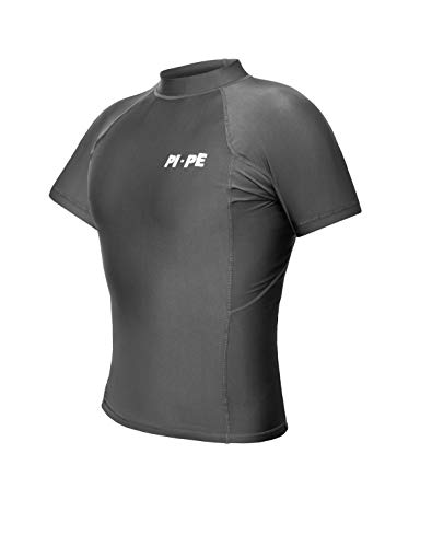 PI-PE Herren Rash Vest Rashguard Kurzarm Schnorcheln Schwimmen Surfen Tops Tauchen Anzug UV Schutz Beach T-Shirt Shortsleeve