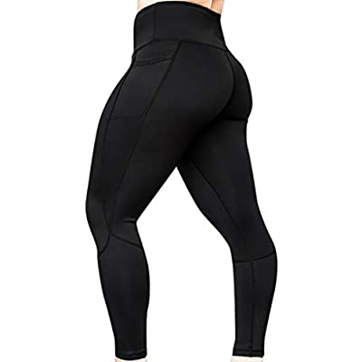 PASATO Waist Women's Solid Tummy Control Workout Leggings Fitness Sports Gym Running Yoga Athletic Pants