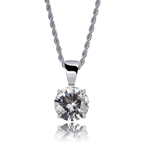JINAO Hip Hop 4 Colors Solitaire Pendant Necklace for Women Elegant Jewelry with Stainless Steel Rope Chain (White, White-Gold-Plated)