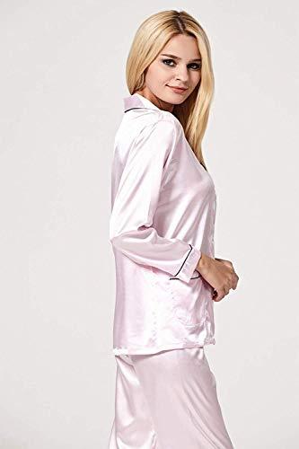 Solapa Manga Ropa Dormir Pecho Estilo Trousers Elastische Solo Color Delanteros Light Bolsillos Larga Sólido Taille Un De Camisas Camison Pink Especial Mujer SPCqwvxP