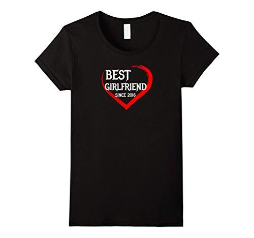 Womens Best Girlfriend Since 2016 1st Year Anniversary Gift T-shirt XL Black
